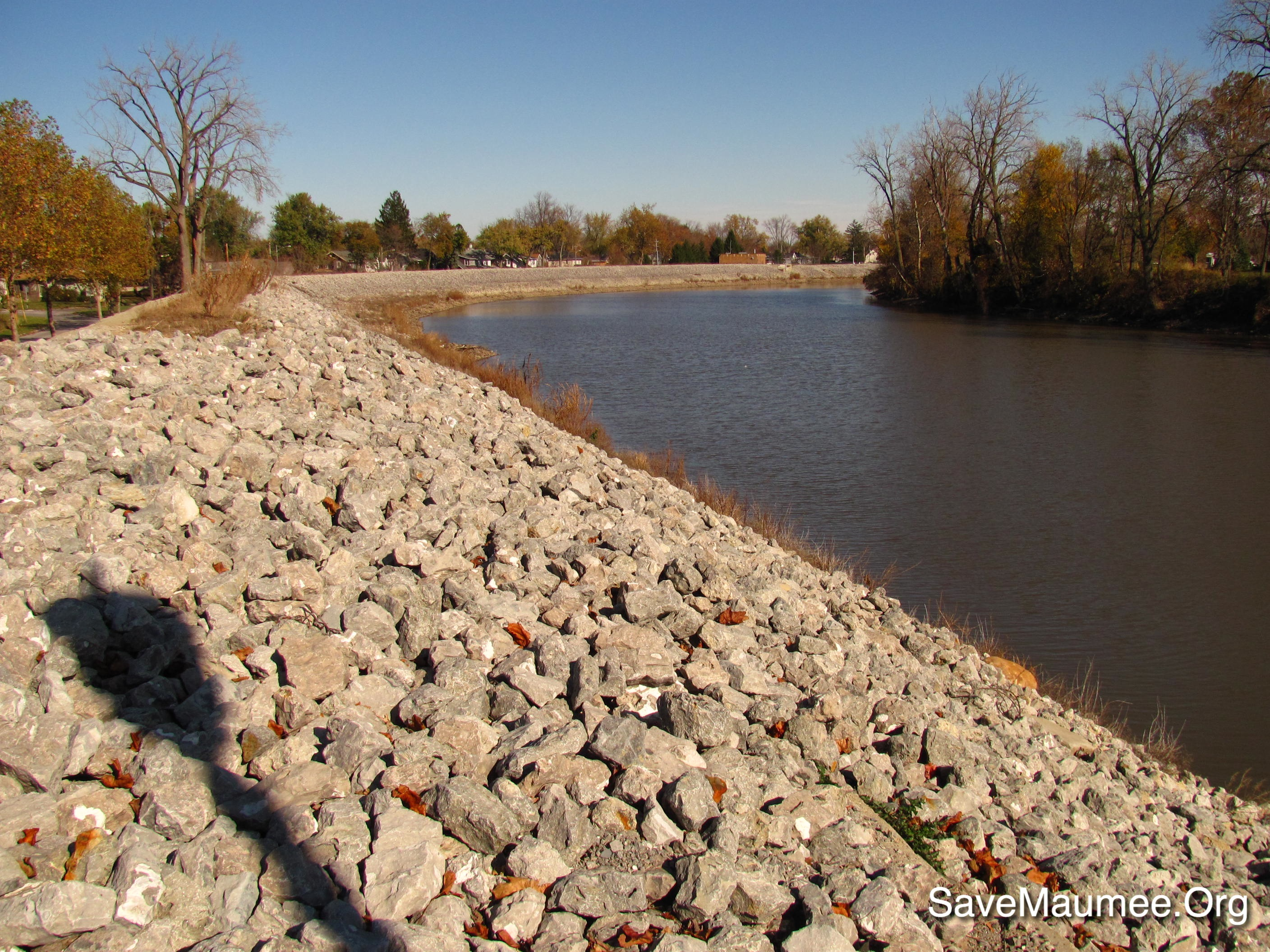 rip-rapped levees in Fort Wayne