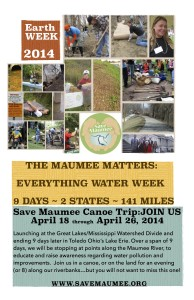 Riverbank Programing each evening ~ your destinations for Save Maumee's 9 Day EARTH WEEK!