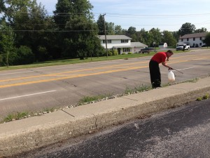 August 2014 - business owner on State Street spraying in front of his building