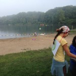 Reaching out and speaking with spectators at Triathlon.
