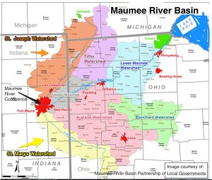 Entire Maumee River Basin with HUC8 Watersheds