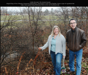 Abigail King & landowner Greg Doublas walk property to assess 20 feet of riparian area along Bullerman Ditch.