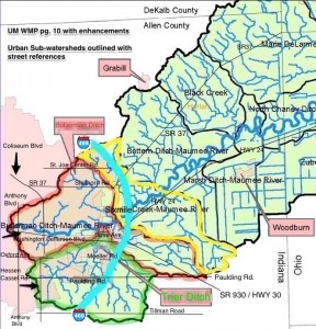 Sub-watersheds of the Upper Maumee in Indiana