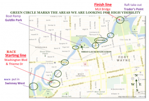 See the Three Rivers Festival Raft Race Route! ...additions by SMGO