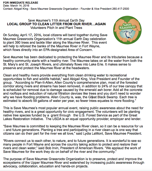 Earth Day 2016 Press Release Save Maumee
